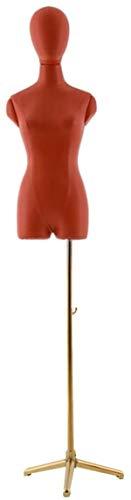 ZSY Maniquíes de Costura Código de Vestimenta de la PU del Cuerpo del Torso del maniquí con el trípode de Oro para la Ropa de la Ropa de la exhibición de la joyería Altura Ajustable (Color : A)