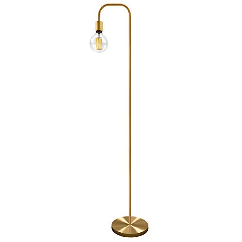 Oneach Industrial 64'' LED Floor Lamp for Living Room Bedroom Reading Office Metal Minimalist Tall Standing Lamp Antique Brass Gold