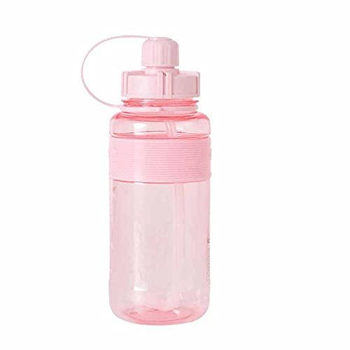 ZZGWJ Deportes Botella de Agua Masculina Super Capacidad Grande Botella de Paja Grande Portátil Plastic Space Taza Botella de Agua Deportes Botella de Agua-Rosa_700ml