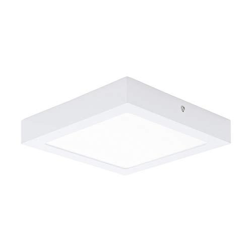 EGLO LED Deckenleuchte Fueva 1, 1 flammige Deckenlampe, Material: Metallguss, Kunststoff, Farbe: Weiß, L: 22,5x22,5 cm, neutralweiß, Wandleuchte
