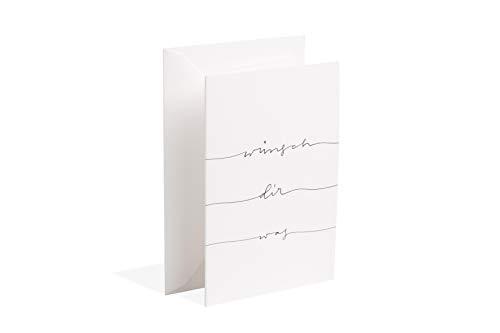 Gmund Papier Grußkarte Handlettering Wunsch (Geschenkkarte, Klappkarte mit Umschlag DIN A6 10,5 x 14,8 cm)