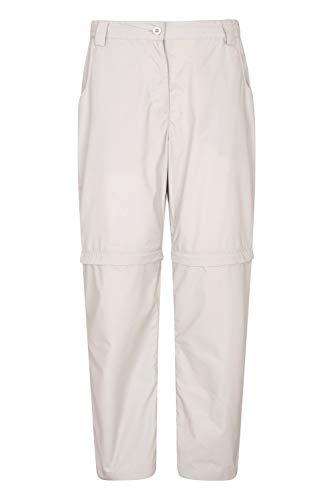 Mountain Warehouse Quest Zip-Off Damenhose – UV-Wanderhose, Damen-Outdoor-Unterteil mit Mehreren Taschen, einfache Aufbewahrung – ideal für Trekking, Camping, Wandern Hellgrau 48