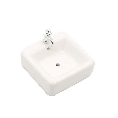 Platz Puppen Waschbecken 01.12 Miniatur-Keramik-Waschbecken Waschbecken Modell Simulation Zubehör für Puppenhaus Weiß