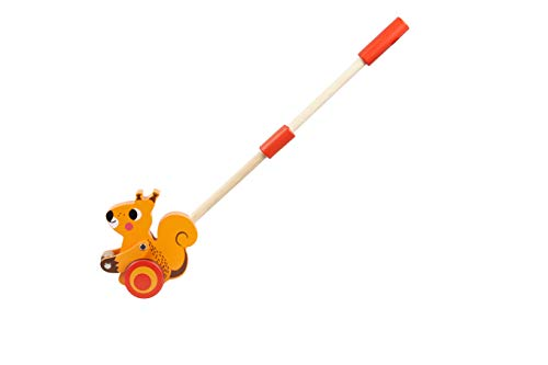 TOYSTER'S Push Along Toddler Walking Squirrel | Wood Stand Up Push and Pull Animal Walker Toys | Gifts for Boys and Girls 1 Year Old and Up | PU020