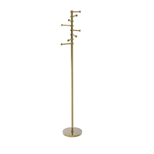 Allied Brass Free Standing Six Pivoting Pegs Coat Rack Unlacquered Brass