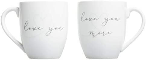 Pearhead Wedding Love You Love You More Mug Set Wedding Gift Couple Coffee Mugs White product image