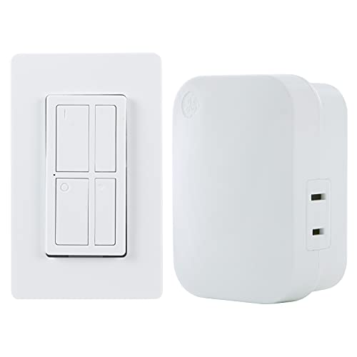 GE mySelectSmart Dimmable Wireless Control Switch, On/Off & Full, 1 Outlet, 150 ft. Range from Plug-in Receiver, Ideal for Lamps & Indoor Lighting, No Wiring Needed, 37781, Dimming Remote
