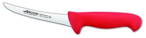 Arcos Serie 2900, Cuchillo Deshuesador Curvo, Hoja de Acero Inoxidable Nitrum de 140 mm, Mango inyectado en Polipropileno Color Rojo