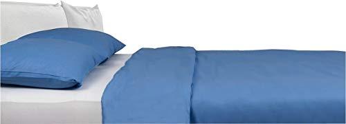 Carpe Sonno Kühle Mako-Satin Bettwäsche in der Übergröße 200 x 220 cm Azur-Blau aus 100% Baumwolle für besten Schlafkomfort – Hotelbettwäsche Set mit Kopfkissen-Bezügen