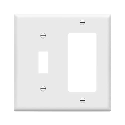 Enerlites 881131-W Decorator/Toggle Switch Wall Plate Combination, 2-Gang, White, Standard Size, Unbreakable Polycarbonate, Replacement Receptacle Faceplates Outlet Cover