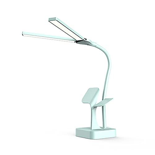 Dos cabeza super brillante DIRIGIÓ Lámpara de escritorio para la lectura de la oficina USB RECARGABLE DIMMABLE 3 luces de la mesa de la mesa de la cama adajustable (Body Color : Blue)