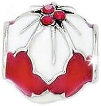 Brighton Poinsettia Stopper Bead Enamel Swarovski Crystal