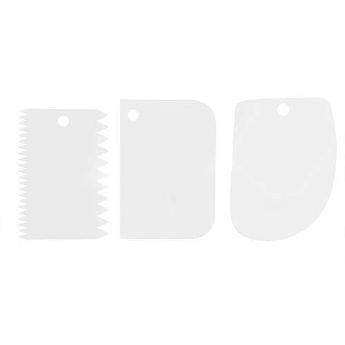 3Pcs Teigspachtel Teigschaber Teigkarten, Teigspachtel Stück Kunststoff für Gebäck Kuchen Rand Dekoration