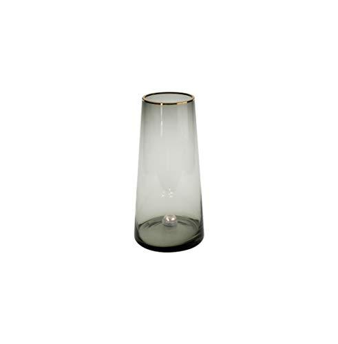 Werner Voss Jarrón de cristal gris con borde dorado, altura 28,5 cm, jarrón de mesa