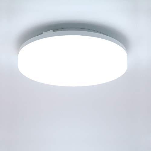 Lamker 15W LED Deckenleuchte 6000K Runde Modern Wasserfest IP44 Deckenlampe Deckenbeleuchtung 1350lm Super Hell für Wohnzimmer Küche Balkon Flur Badezimmer Bad Garage Büro Kaltes Weiß