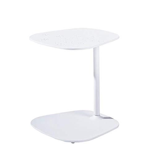 Jcnfa-bijzettafel Patio Meubels/Woonkamer bijzettafel, Binnen/buiten, Aluminium C-vormige bijzettafel, bank einde bijzettafel voor Koffie Laptop, wit, zwart