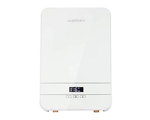 Electric Tankless Water Heater, ECOTOUCH 6.5KW 240V On Demand Bathroom Water Heater Self-Modulating Instant Hot Water Heater ECO65 White