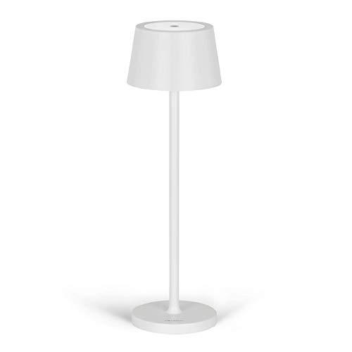 Stilosa Tonda - Lampada LED Ricaricabile USB da Tavolo a Lunga Durata con Base Tonda - Luce Regolabile (Dimmer) con il Tocco - Casa e Ristorante - Protezione IP54 Uso Interno ed Esterno - Bianco Opaco