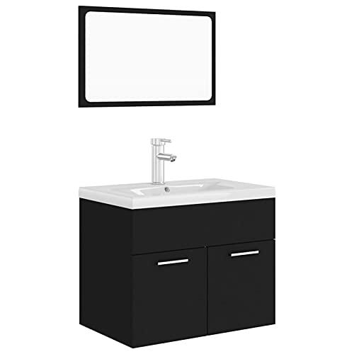 Tidyard Conjunto de Muebles de baño aglomerado Negro 20# | Juegos de Muebles de baño Armarios de Suelo para baño Juegos de tocador