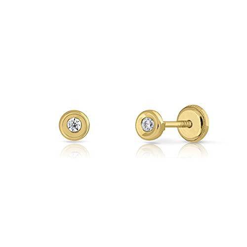 Pendientes Oro de Ley Certificado. redondo bicelado. Niña/Mujer. circón 2 mm cierre de rosca de seguridad (1-3384-2)