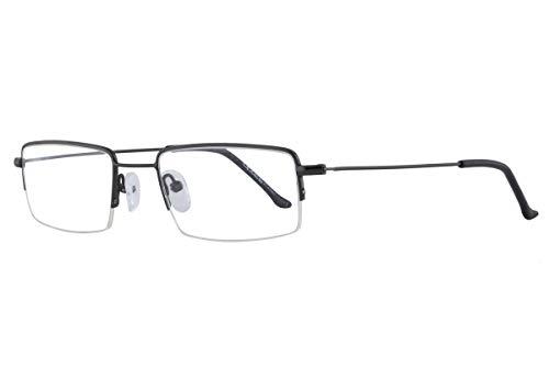 VisionsIndia Blue Cut Lenses Anti-Glare Coating Optilite Gun Half Rim Zero Power Rectangular Unisex Spectacles (7011-C03-C03)