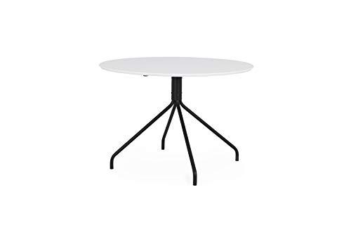 tenzo Ego Table de Salle à Manger, Panneaux MDF, HPL Pieds en Acier laqué, Blanc/Noir, 74,5 x Ø 110 cm (HxLxP)