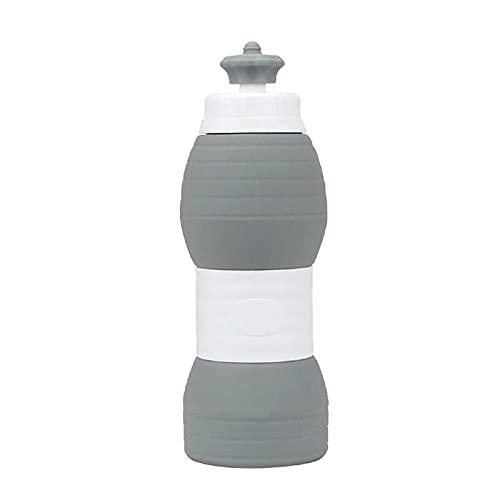 LTCTL Creative Folding Water Cup 600ML Tazza pieghevole in silicone Bottiglia d'acqua telescopica retrattile portatile Sport da viaggio all'aperto (Colore : Grigio)