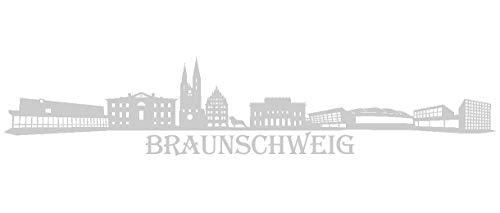 Samunshi® Wandtattoo Braunschweig Skyline Wandaufkleber in 9 Größen und 19 Farben (70x14cm silbermetalleffekt)