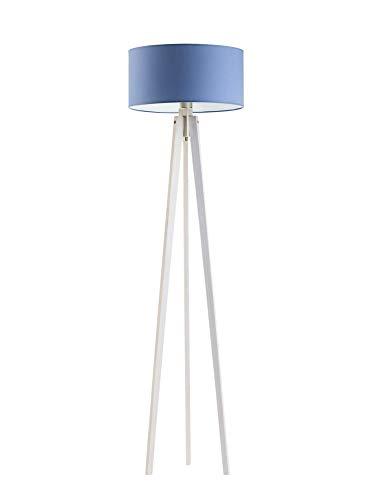 Miami - Lámpara de pie de tres patas con pantalla azul y marco de madera blanca