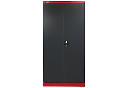 Dossierkast Omsk Jet-Line rood-donkergrijs metalen kast kantoorkast gereedschapskast garderobe kledingstang 185x45x90