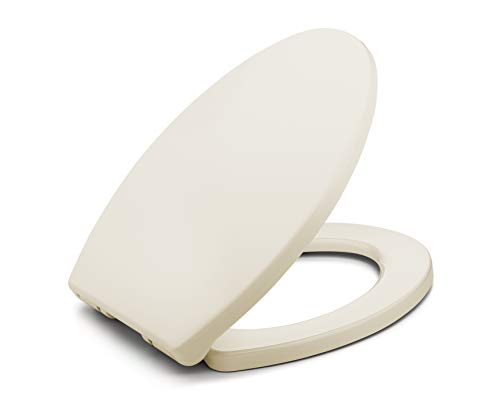 Toilet Seat Elongated BATH ROYALE BR237-02 Almond/Bone MasterSuite Elongated Toilet Seat Soft Close, Replacement Toilet Seat Fits All Toilet Brands including Kohler, Toto and American Standard