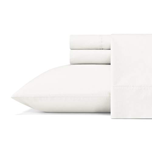 Vera Wang| Organic Collection| Bed Sheet Set - 100% Pure Cotton Bedding, All-Natural Lightweight Fabrics and Cool, King, White