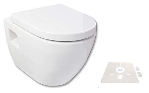 Calmwaters® Hänge WC Komplettset Honest mit Schallschutz & WC-Sitz mit Absenkautmatik & abnehmbar, Standardanschluss für Vorwandelement, Tiefspüler, Metallscharnier, Schnellbefestigung, 08CL5586