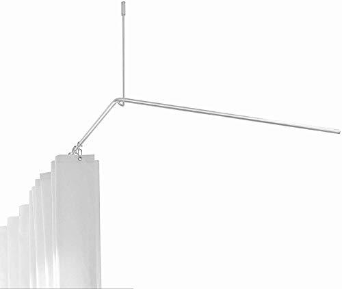 PHOS Edelstahl Design, DSE900-BundleP1, Duschstangen-Komplett-Set, L-Form 90x90 cm aus Edelstahl mit weißem Duschvorhang 200x200 cm und 14 Haken HKD, Duschvorhangstangen-Set, Badezimmer, Duschraum