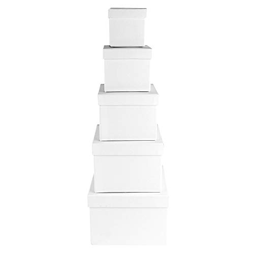 Scatole regalo con coperchio | Set da 5 pezzi | 5 diverse misure tra loro da grandi a piccoli | in cartone robusto | ideali per compleanno e matrimonio | quadrate da 6 a 14 cm