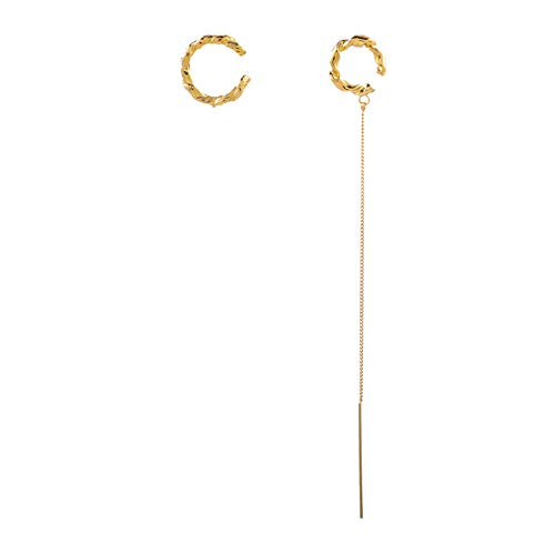 Línea Oreja Asimétrica One Oree Bone Clip Tassel Cadena Pendientes Largos Para Las Mujeres Niñas Banquete Novia Banquete De Lujo Joyería Oreja Regalos