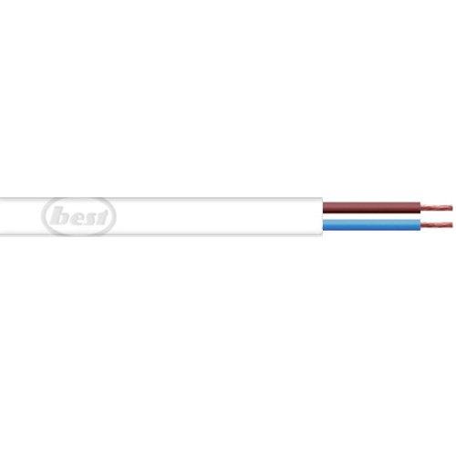 Bulk Hardware BH01448 0,5 mm Flache 2-adrige Kabel 2192Y, 10 Meter Weiß, m
