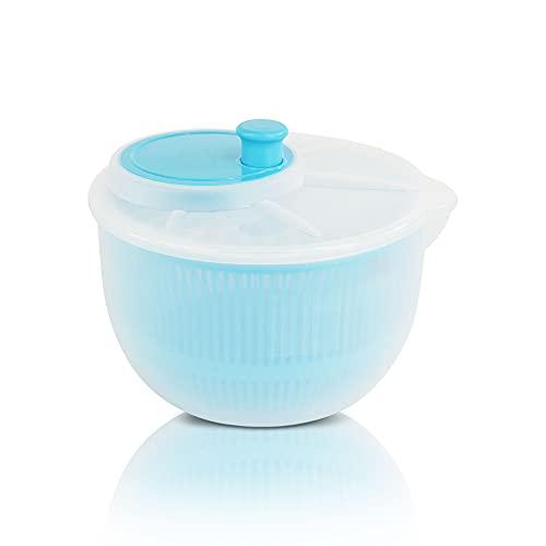 Centrifugadora lechuga fresca, escurridor lechuga (3L) Escurridor de Ensalada Libre de BPA.(Azul)