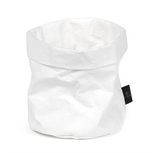 stil-macher Designer Krempelkorb - Gr. M - | Aufbewahrungskorb aus waschbarem Papier | Lederoptik | VEGAN | Deko-Box | Geschenkbox | Übertopf (weiß, Rund)