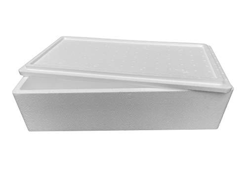 Thermobox, Styroporbox für Essen, Getränke & temperaturempfindliche Ware , Isolierbox aus Styropor mit Deckel , Maße: 80,0 x 40,0 x 22 cm , Wandstärke: 2,8cm , Volumen: 45,9 L