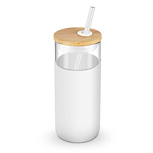 Tronco 20oz Glass Tumbler Straw Silicone Protective Sleeve Bamboo Lid - BPA Free