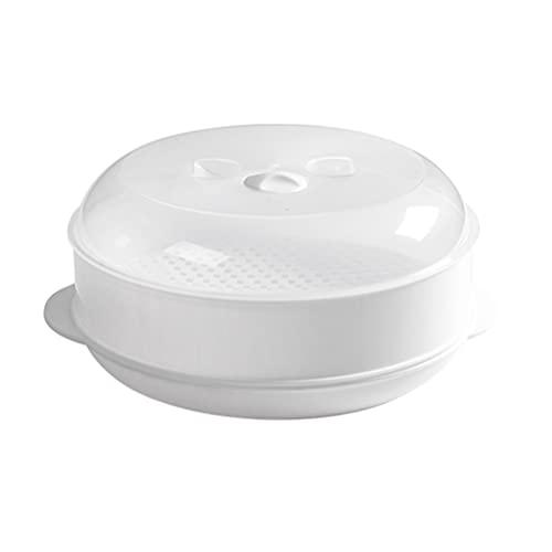 SOLUSTRE Utensilios de Cocina Microondas Vaporizador con Tapa Recipiente de Arroz Redondo Caja de Vapor Dim Sum para Pescado Saludable Huevos Verduras Mariscos Alimentos para Bebés Carnes