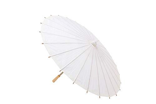 DISOK Lote de 18 Parasoles Papel Bambú Marfil - Sombrillas Chinas Baratas para Comprar. Eventos, Bodas, bautizos, Fiestas