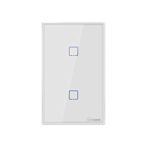 Sonoff® T2 Us Interruptor Wifi Inteligente 2 Botões Touth Screen Wi-fi & Rf 433 Mhz, Funciona com Alexa