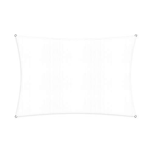 Lumaland Sonnensegel inkl. Befestigungsseile, 100% HDPE mit Stabilisator für UV Schutz, Rechteck 2 x 3 Meter weiß