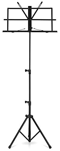 """Classic Cantabile Notenständer """"Easy"""" mit Tasche - Neue Mechanik vereinfacht Aufklappen der Ablage - Höhenverstellbar von 45-118 cm - Nur 1,2 kg - Inkl. Notenklemmen - Für Kinder geeignet - Schwarz"""