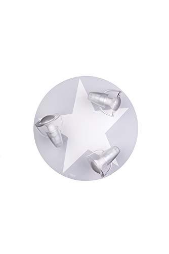 LED Deckenleuchte grau mit Stern weiß für 3x LED Lampe max 40 Watt