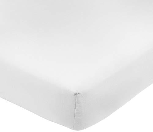 ADP Home - Pack de 6 Und. Sábana Bajera Ajustable 105 cm, 50/50% POLIALGODÓN, Textil para HOSTELERÍA, Medida: 105x195+25 cm, Blanca