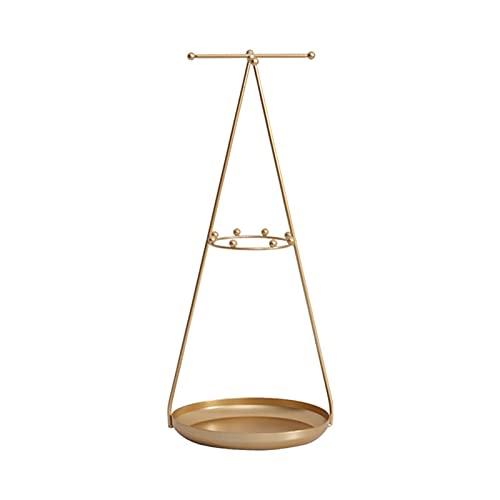 BIAOYU Soporte de joyería en forma de cruz para joyas, organizador de adornos, soporte de exhibición para pendientes/anillos/collares para mostrador de joyas (color: oro)