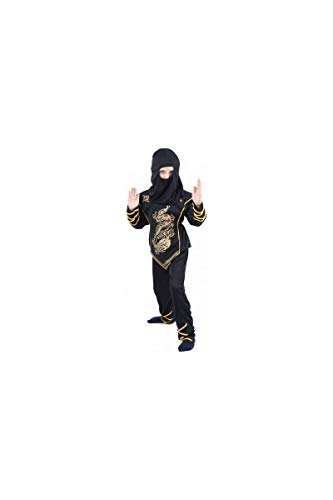 Generique - Ninja-Kostüm schwarz und Gold für Jungen 134/140 (10-12 Jahre)